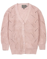 Creamie Girl's Ajour Knit Cardigan in Rose Smoke