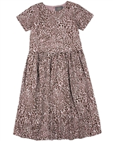 Creamie Girl's Sort Sleeve Dress in Leopard Print