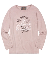 Creamie Girl's Long Sleeve Top with Chetah Print