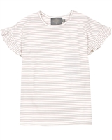 Creamie Girl's Striped Top with Frill Sleeves in Rose