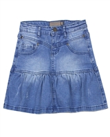 Creamie Girl's Flounce Hem Denim Skirt