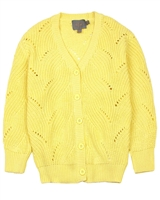 Creamie Girl's Ajour Knit Cardigan in Yellow