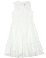 Creamie Girl's Embroidered Mock-neck Dress