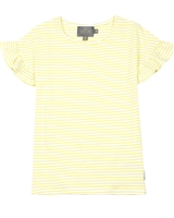 Creamie Girl's Striped Top with Frill Sleeves in Yellow