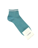 CONDOR Girls' Shiny Ankle Socks in Turquoise