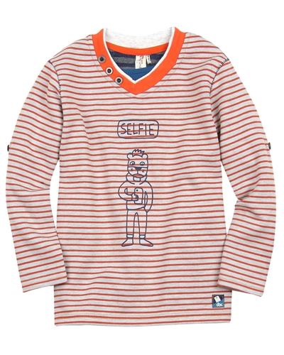 Deux par Deux Striped T-shirt Be Your Selfie Orange