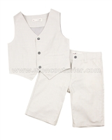Deux par Deux Boys' Vest and Shorts Set Beige Aristo Kids