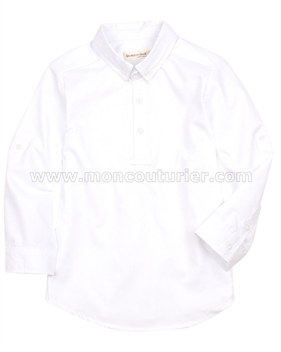 Deux par Deux Boys' Shirt with Placket White Aristo Kids