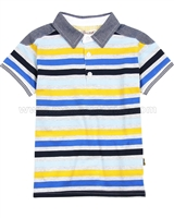 Deux par Deux Boys' Striped Polo Roadrunner
