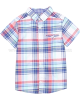 Deux par Deux Boys' Plaid Shirt Crab Me Up