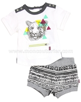 Deux par Deux Boys' T-shirt and Shorts Set Rhino-feroce