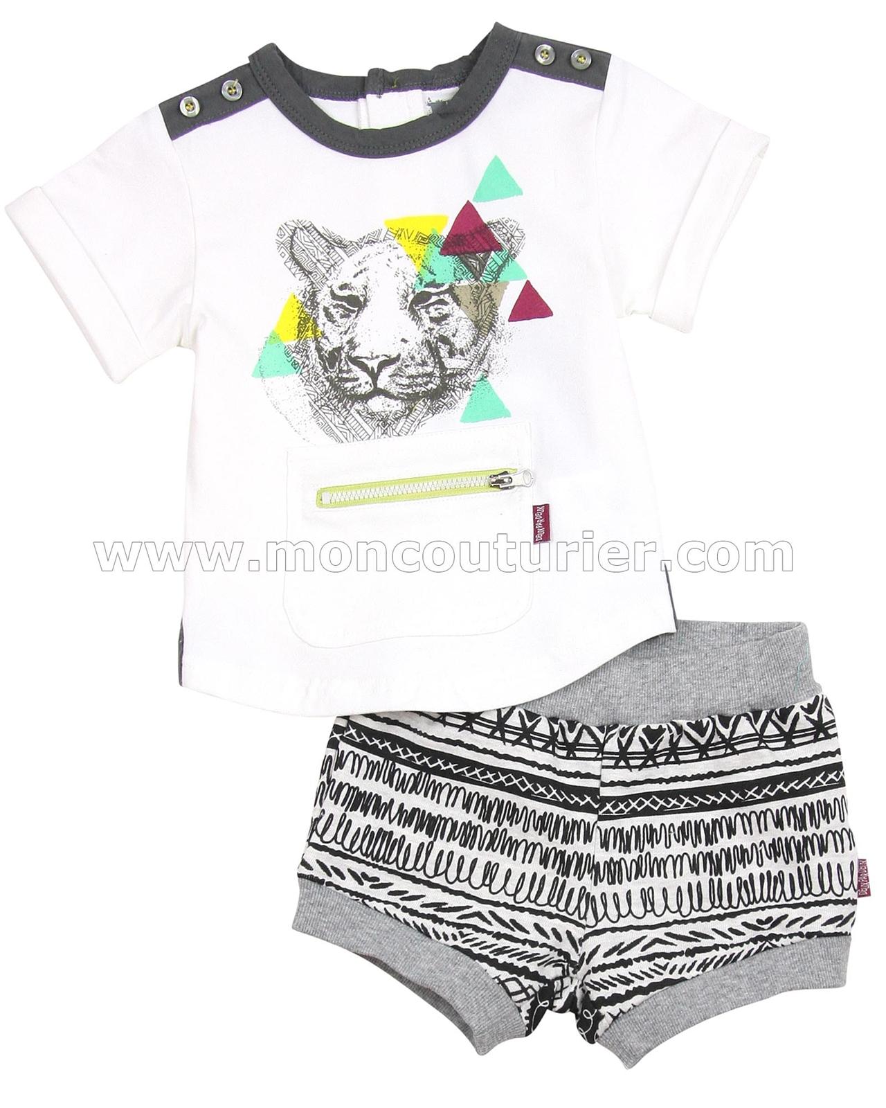 57fe9b386502 Deux par Deux Boys  T-shirt and Shorts Set Rhino-feroce