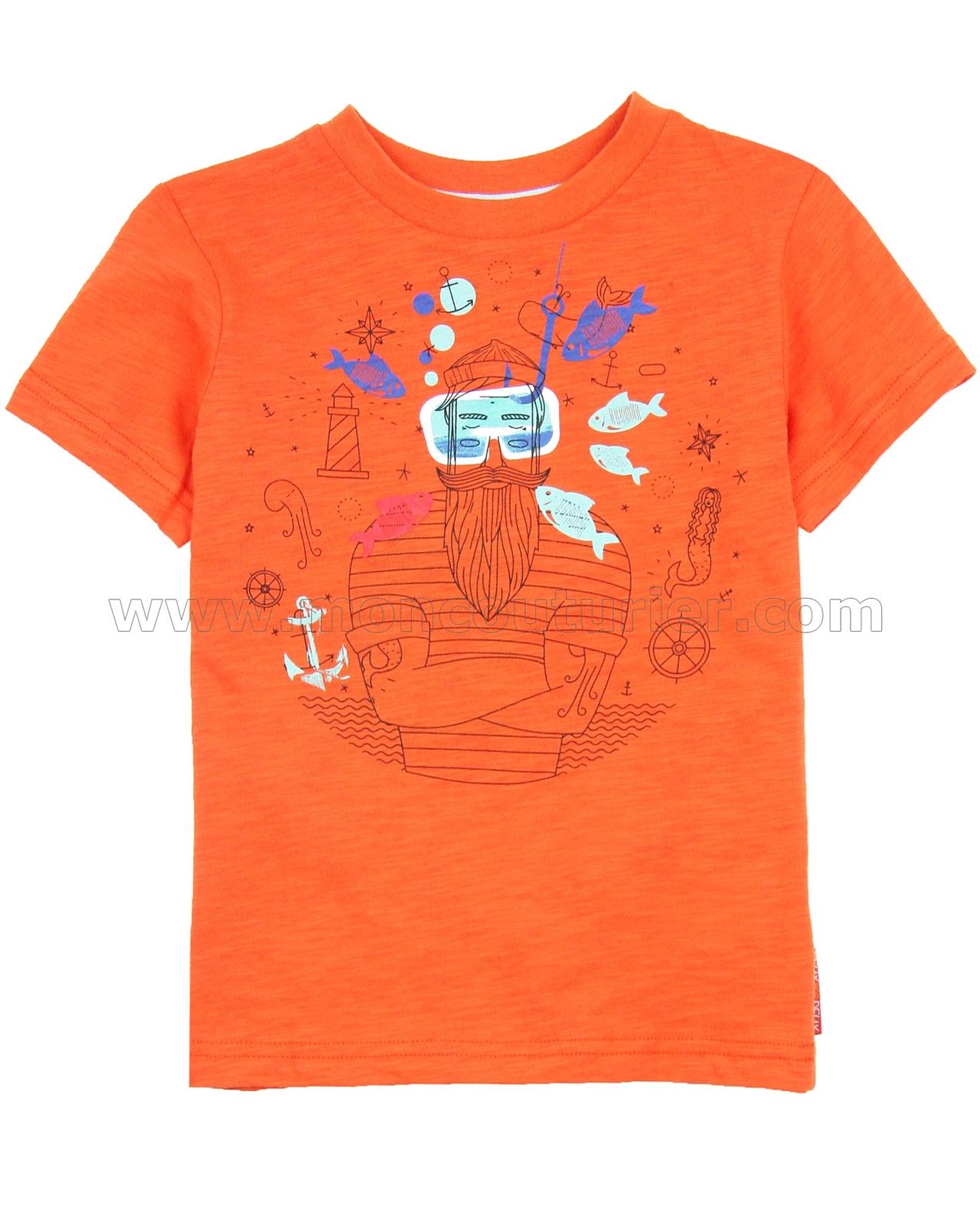 Deux par Deux Boys/' Orange Printed T-shirt Whistle Punk Sizes 18M-6