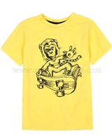 Deux par Deux Yellow T-shirt with Print Monkey See Monkey Do