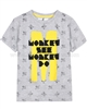 Deux par Deux Gray T-shirt with Print Monkey See Monkey Do