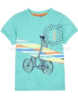 Deux par Deux Turquoise T-shirt with Print Surf Away