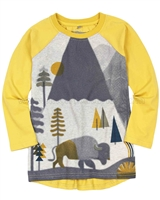 Deux par Deux Yellow T-shirt with Printed Front Hey, Buffalo Hill