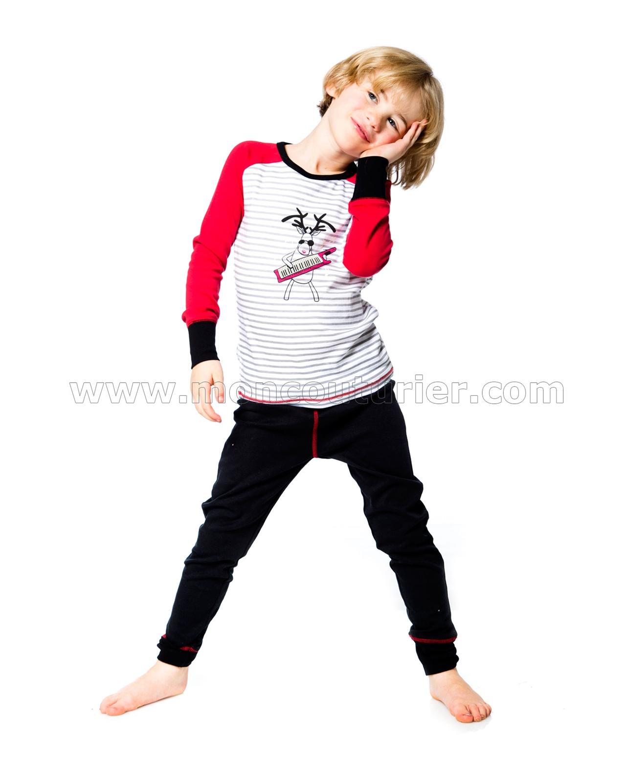 Deux par Deux Boys Christmas Pants and T-shirt Pyjamas Set Sizes 2-12
