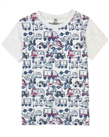 Deux par Deux Gray T-shirt with Cars Print I Believe I Can Fly