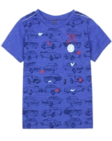 Deux par Deux Blue T-shirt with Cars Print I Believe I Can Fly