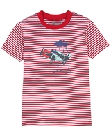 Deux par Deux Red Striped T-shirt I Believe I Can Fly