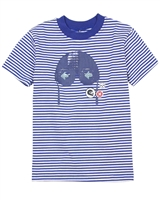 Deux par Deux Blue Striped T-shirt I Believe I Can Fly