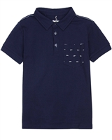 Deux par Deux Polo in Navy Only Pirates Allowed