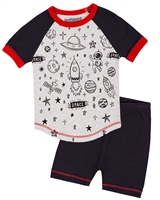 Deux par Deux Shorts and Space Print T-shirt Pyjamas Set