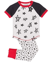 Deux par Deux Star Print Pant and T-shirt Pyjamas Set