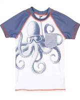 Deux par Deux Rash Guard T-shirt with Octopus Print Playa Del Mar