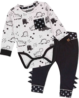 Deux par Deux Baby Boys' Printed Bodysuit and Pants Set Unicorns and Dinos
