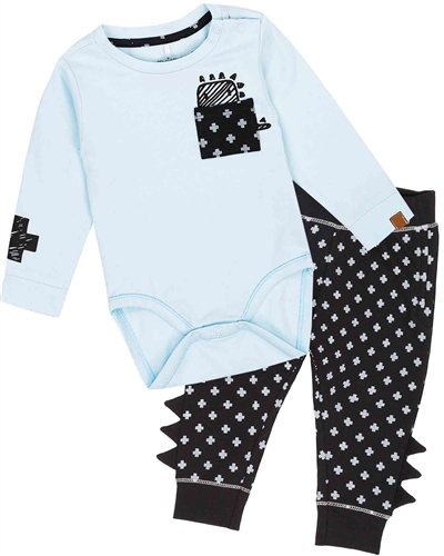 Deux par Deux Baby Boys' Bodysuit and Pants Set Unicorns and Dinos