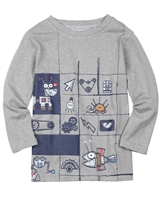 Deux par Deux Boys T-shirt with Printed Front in Gray Go Mecano