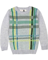 Deux par Deux Boys Plaid Sweater Forest Fest