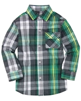 Deux par Deux Boys Plaid Shirt Forest Fest