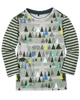 Deux par Deux Boys T-shirt with Striped Sleeves Forest Fest