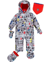 Deux par Deux Baby Boys 1-Piece Snowsuit Forest Exploration