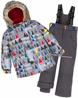 Deux par Deux Boys' 2-Piece Snowsuit Forest Exploration Gray