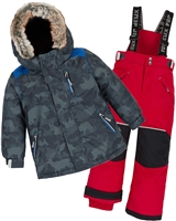 Deux par Deux Boys' 2-Piece Snowsuit Camo Animo Red