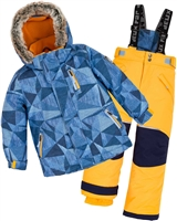Deux par Deux Boys' 2-Piece Snowsuit Geo Jeans Yellow