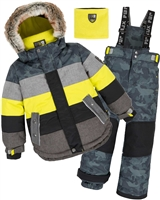 Deux par Deux Boys' 2-Piece Snowsuit Meteo Alert Yellow