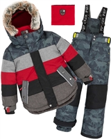 Deux par Deux Boys' 2-Piece Snowsuit Meteo Alert Red