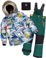 Deux par Deux Boys' 2-Piece Snowsuit Rock the Mountain Green