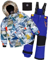 Deux par Deux Boys' 2-Piece Snowsuit Rock the Mountain Blue