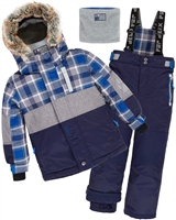 Deux par Deux Boys' 2-Piece Snowsuit Forest Runner Navy
