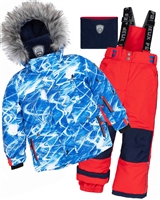 Deux par Deux Boys' 2-Piece Snowsuit Snowsuit Slalom Trails in Red
