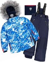 Deux par Deux Boys' 2-Piece Snowsuit Snowsuit Slalom Trails in Navy