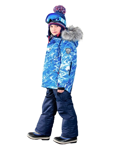 DEUX PAR DEUX Boys/' 2-Piece Snowsuit Slalom Trails in Navy Sizes 4-14