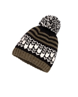 Deux par Deux Boys Beanie Hat Snow in the City in Olive
