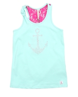 Deux par Deux Printed Tank Top Ice Green Je men Fish